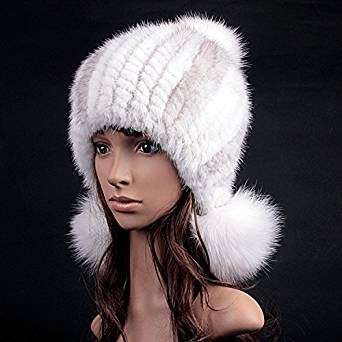 663a06a3922 Roniky Womens Girls Genuine Mink Fur Knitted Hat With Ear Fur Pom Poms  Winter Cap