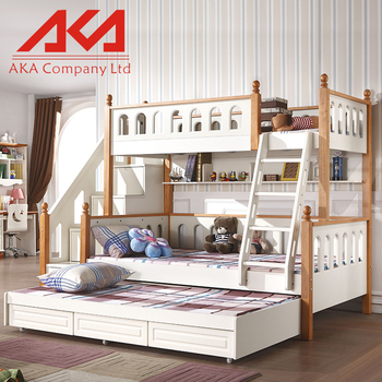 bedroom furniture wood double bunk bed design with ladder cabinet