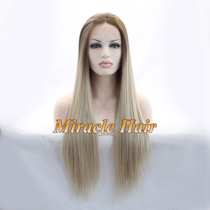 Blonde Ombre Silky Straight Synthetic Wigs Dark Roots Brown / Blonde Two Tone Heat Resistant Glueless Lace front Wig For Women
