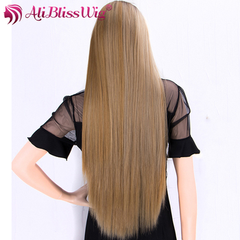 Cosplay Wigs Brown Blonde Highlight Long Straight Hair Synthetic Wig