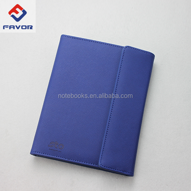 a5 size embossing leather diary organizer folder with LOGO