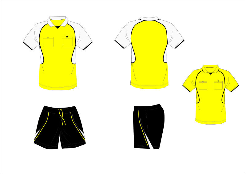 2014Yellow new design custom cool dry Breather soccer referee jersey
