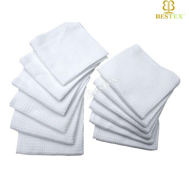 Microfiber Dry Fast Waffle Weave Plain White Tea Towel