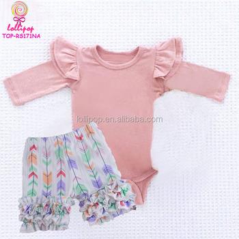 36b4b632e Baby Girl's long sleeve onesie flutter sleeve child babygrow bodysuit newborn  baby double flutter sleeve icing