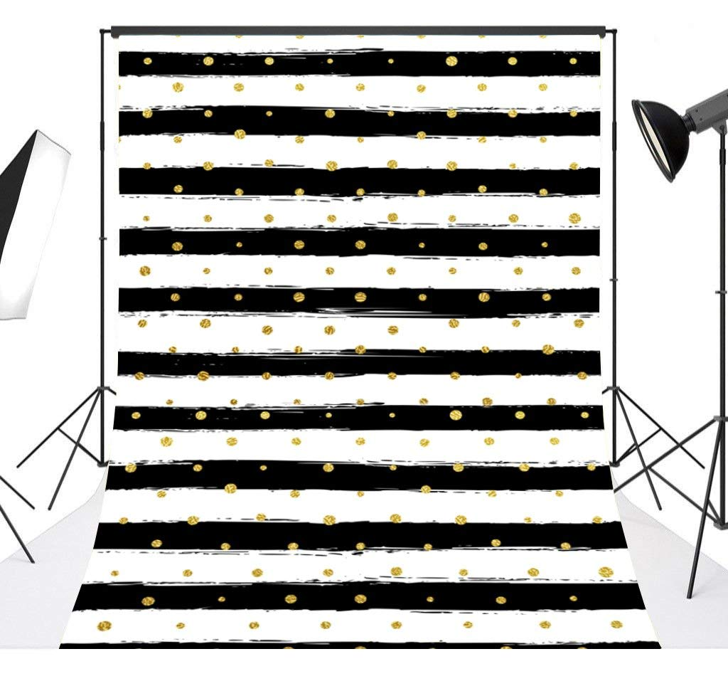 Mehofoto White and Black Stripes Backdrop God Dots Birthday Wedding Background 7x10ft Poly Cotton Birthday Party Decoration Banner Backdrops for Photographer