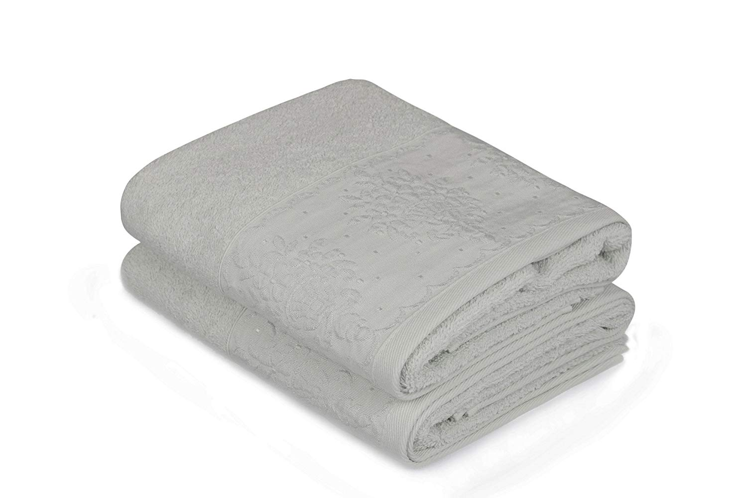 "LaModaHome 2 Pcs Hand Towel Set Premium Quality (19.7"" x 35.4"") 100% Cotton Hotel Quality/Motif Design Plant Leaf Flower Grey Background/Soft Machine Washable Quick Dry Highly Absorbent"