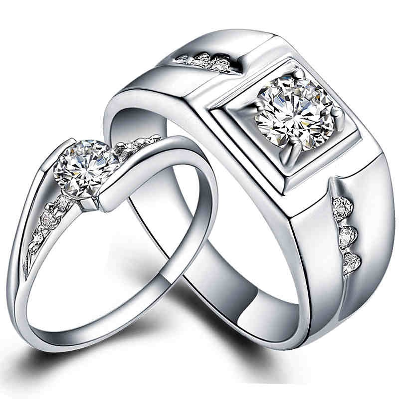 Pair 925 sterling silver wedding ring set White Gold fill ...