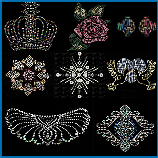 Crown Hot Notities Ster Kat Borduren Naaien Patches voor Kleding Door Diamant Steentjes Zwart Ijzer op Stok Applique Jersey