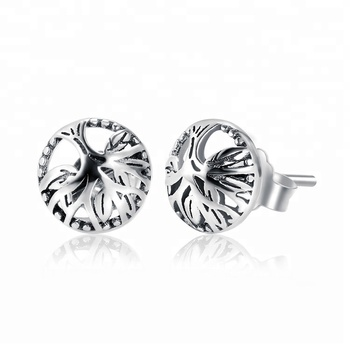 1f13e1532 Wholesale Factory 925 Sterling Silver Oxidized Plated Plain Tree of Life  Stud Earrings