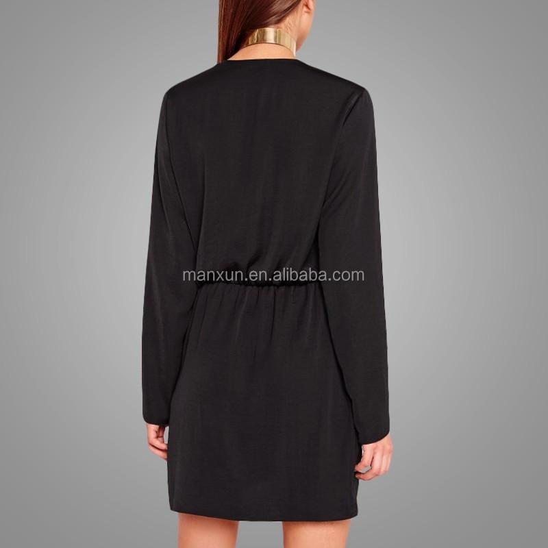 1ad72dde67753 Hot Plain Black Wrap Short Dress Deep V Neck Long Sleeve Tight Fitting Top  Dress
