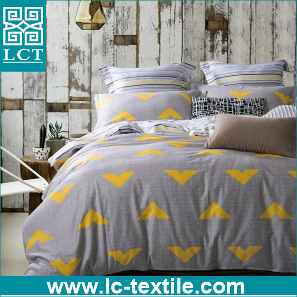 alibaba cheap bedding set 4pcs grey and yellow color printing sheets bed bedding set
