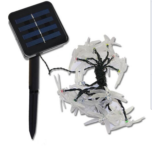 20LED Outdoor Solar String Lights Butterfly Dragonfly Garden Light  Decorative Christmas Lights