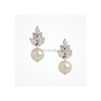 Fashion Custome Jewelry 925 Sterling Silver Hang Earring Elegant Bridal Zircon Pearl Earrings