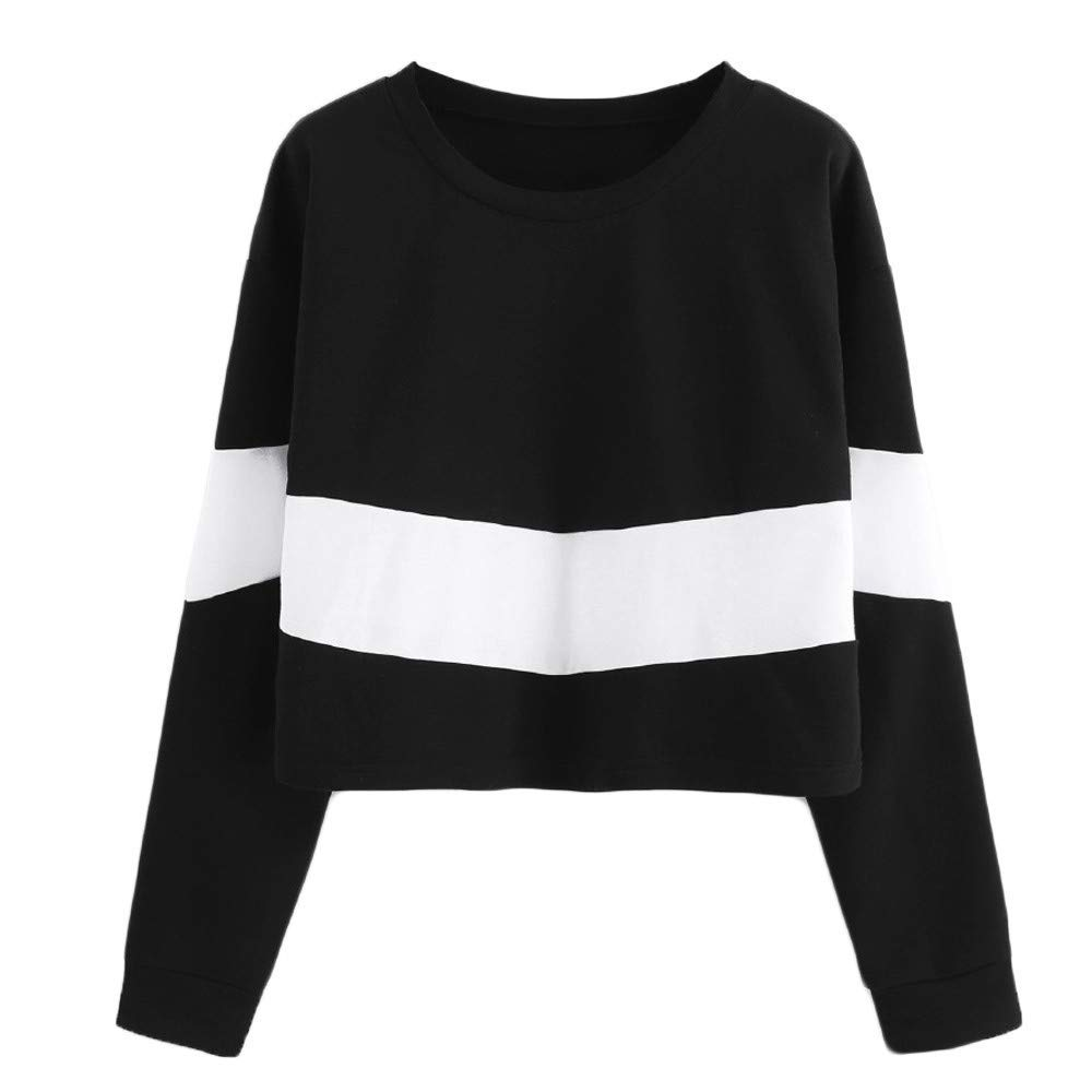 Snowfoller Fashion Wide Striped Blouse,Women O-Neck Long Sleeve Splicing Color Short Tops Casual Sweatshirt Pullover