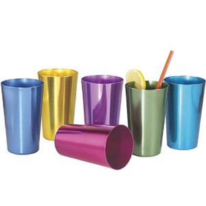 16 Anodized Aluminum Drinking Tumblers 16 oz Vintage Retro Glasses Water Cup Set