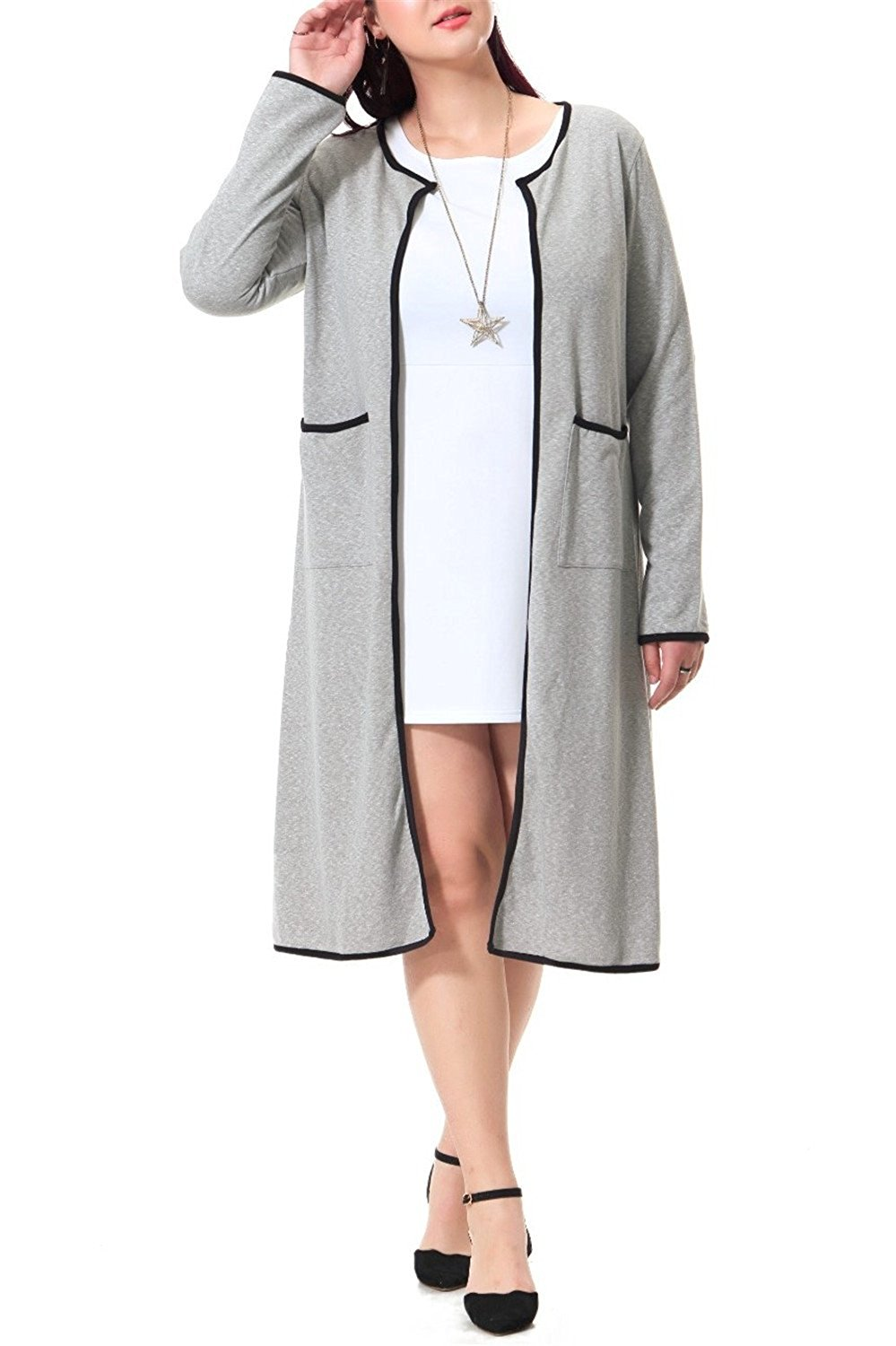 e5122b7bb1be9 Get Quotations · Klemsomava Plus Size Long Maxi Coat With Pockets Gray  Casual Coat For Women Black Patchwork Outerwear
