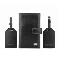 Classic Black Leather Passport cover and luggage tag set, PU Travel wallet passport case