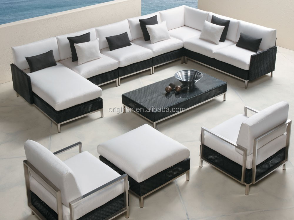 Modern Style 9 Seater Sectional Garden Rattan Sofa With Chaise Lounge And  Sleeper Outdoor Patio Sets