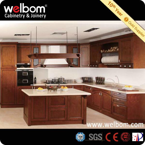 Estilo americano simple muebles de cocina de madera blanco - Estilos de muebles de cocina ...