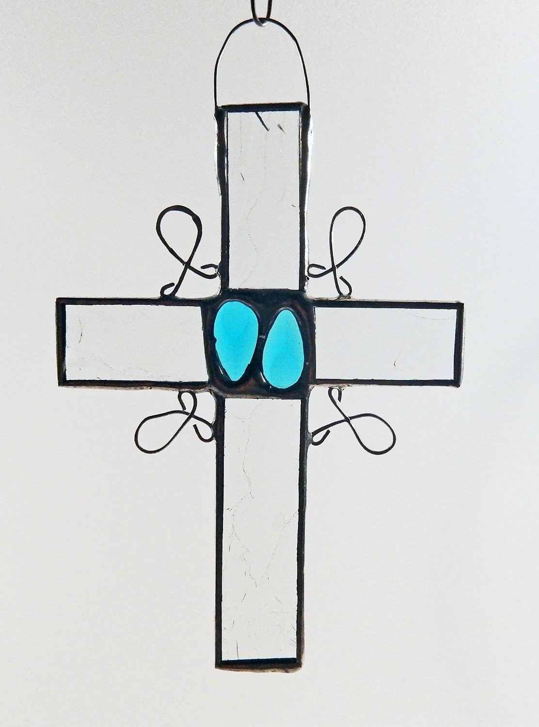 Clear Stained Glass Cross with choice of vintage glass jewels in blue, red/pink, green, yellow/amber