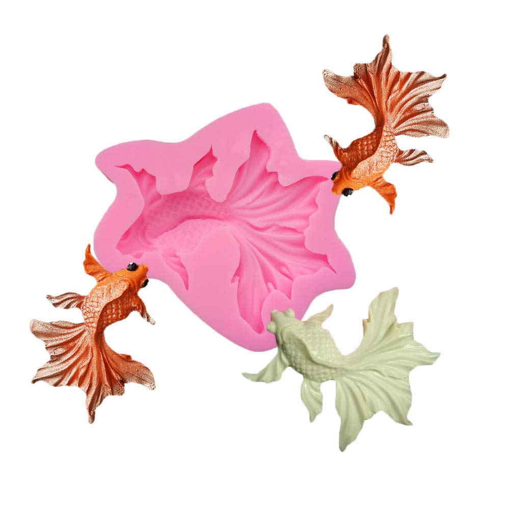 BOZOA Goldfish Molds - 3D Realistic Shape Fish Silicone Mold DIY Carp Shaped Fondant Molds Cake Decorating Chocolate Polymer Clay Crafting Projects