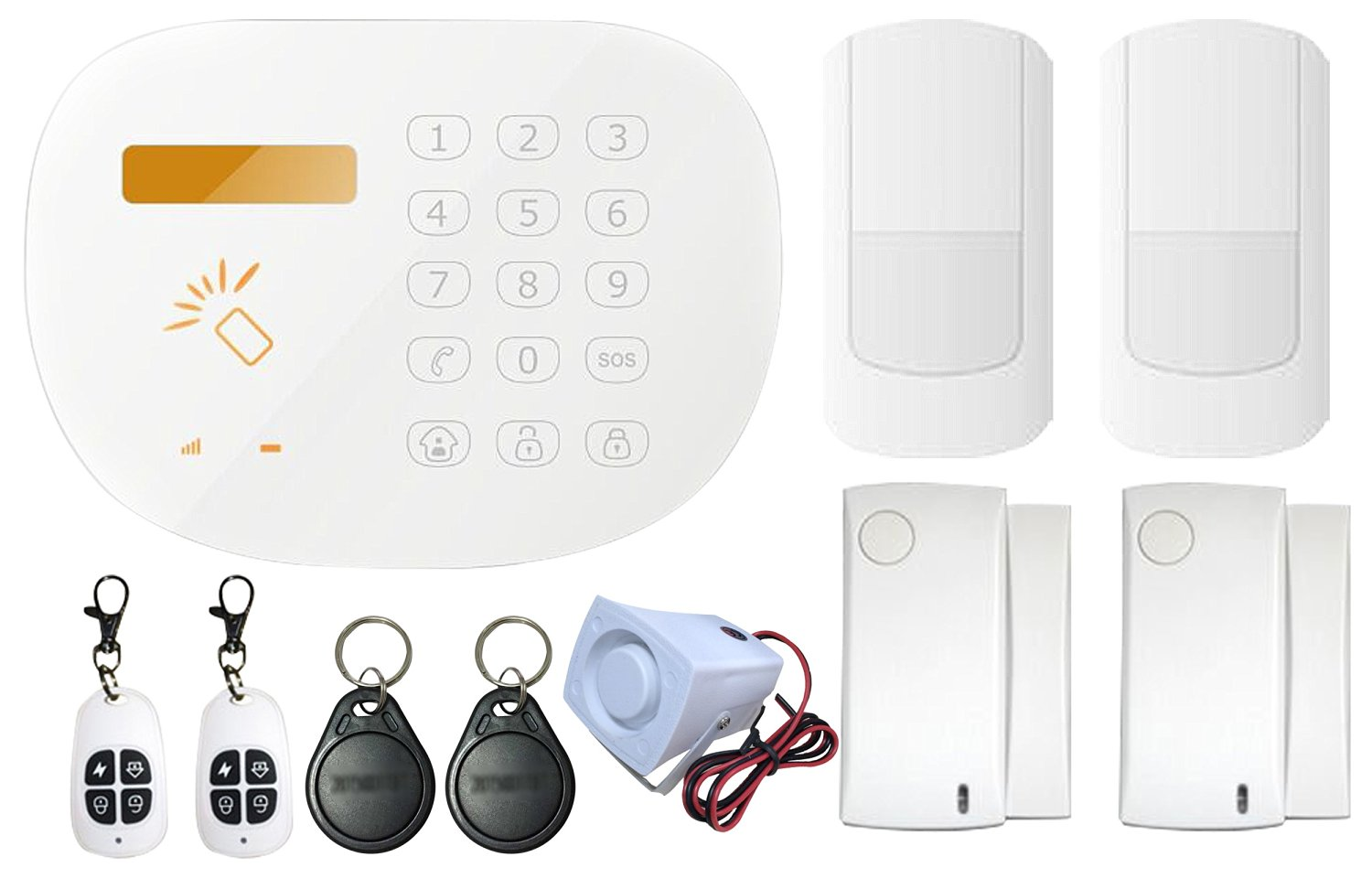 Golden Security Touch Screen RFID IOS Android APP GSM & PSTN SMS Wireless & Wired Voice Home House Alarm Security System Set