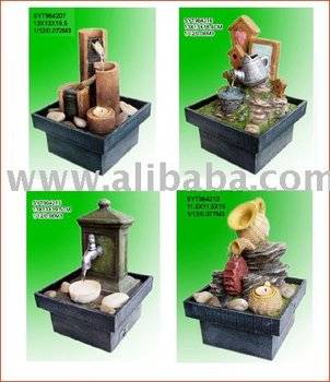 Elegant Poly Resin Tabletop Water Fountain, Mini Battery Powered Fountains