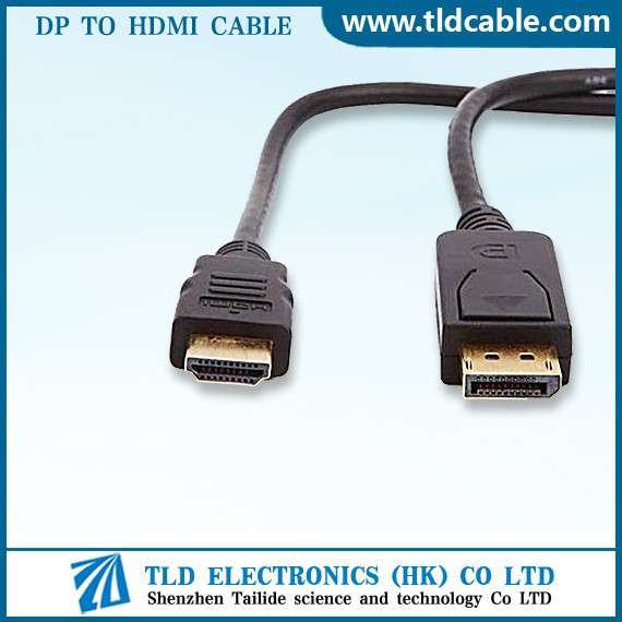 Display Port Male to HDMI Male Gold Cable for PC HDTV