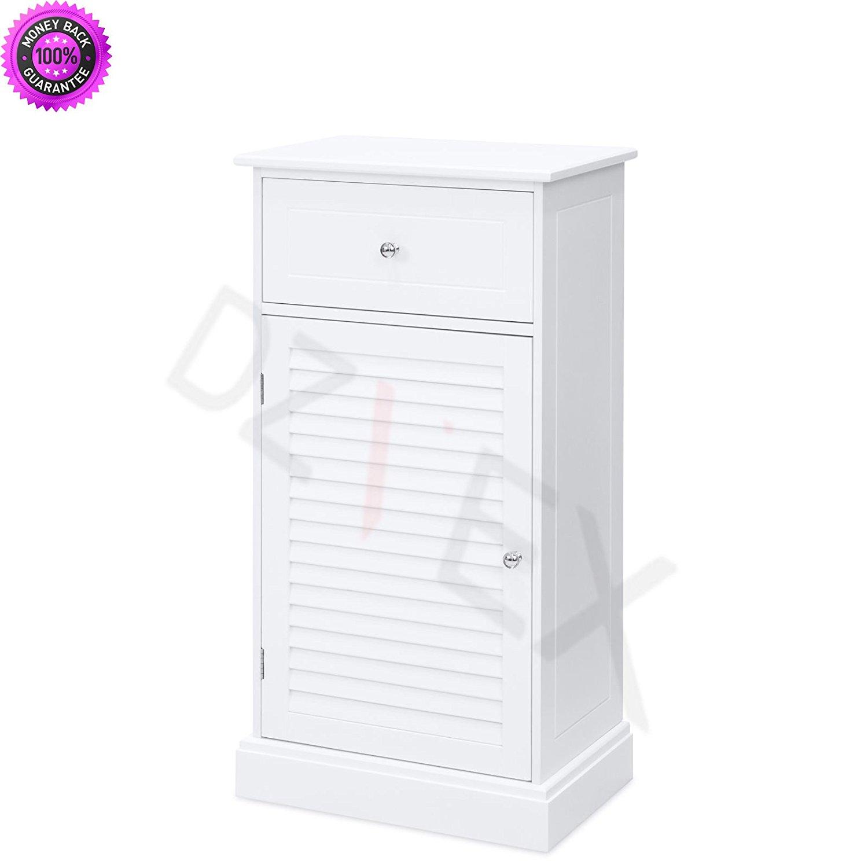 DzVeX Bathroom Floor Cabinet w/2 Shelves & Drawer Storage Compartment - White And shower caddy target pole shower caddy shower caddy bed bath and beyond corner shower caddy bathtub caddy portable