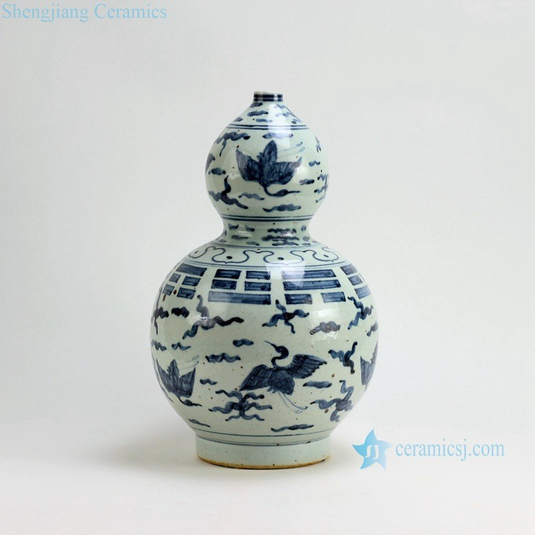 RZFB02 H15Inch Jingdezhen Ceramic blue and white gourd vases