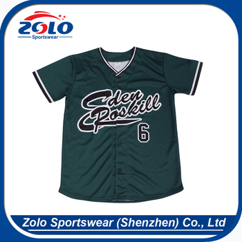 Approved manufacturer sublimation new model green custom baseball jersey