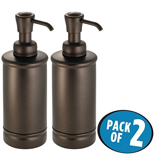 mDesign Refillable Liquid Hand Soap Dispenser Pump Bottle for Kitchen, Bathroom | Also Can be Used for Hand Lotion & Essential Oils - Pack of 2, Tall, Bronze