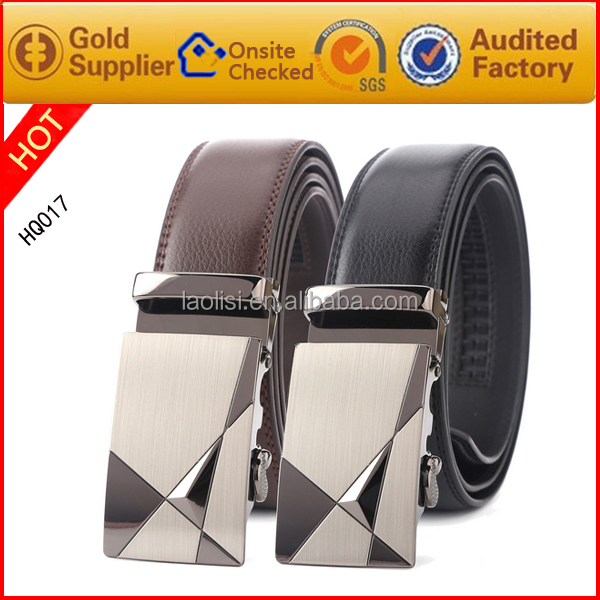 Leather belt without holes with automatic buckle new gold chain design for men