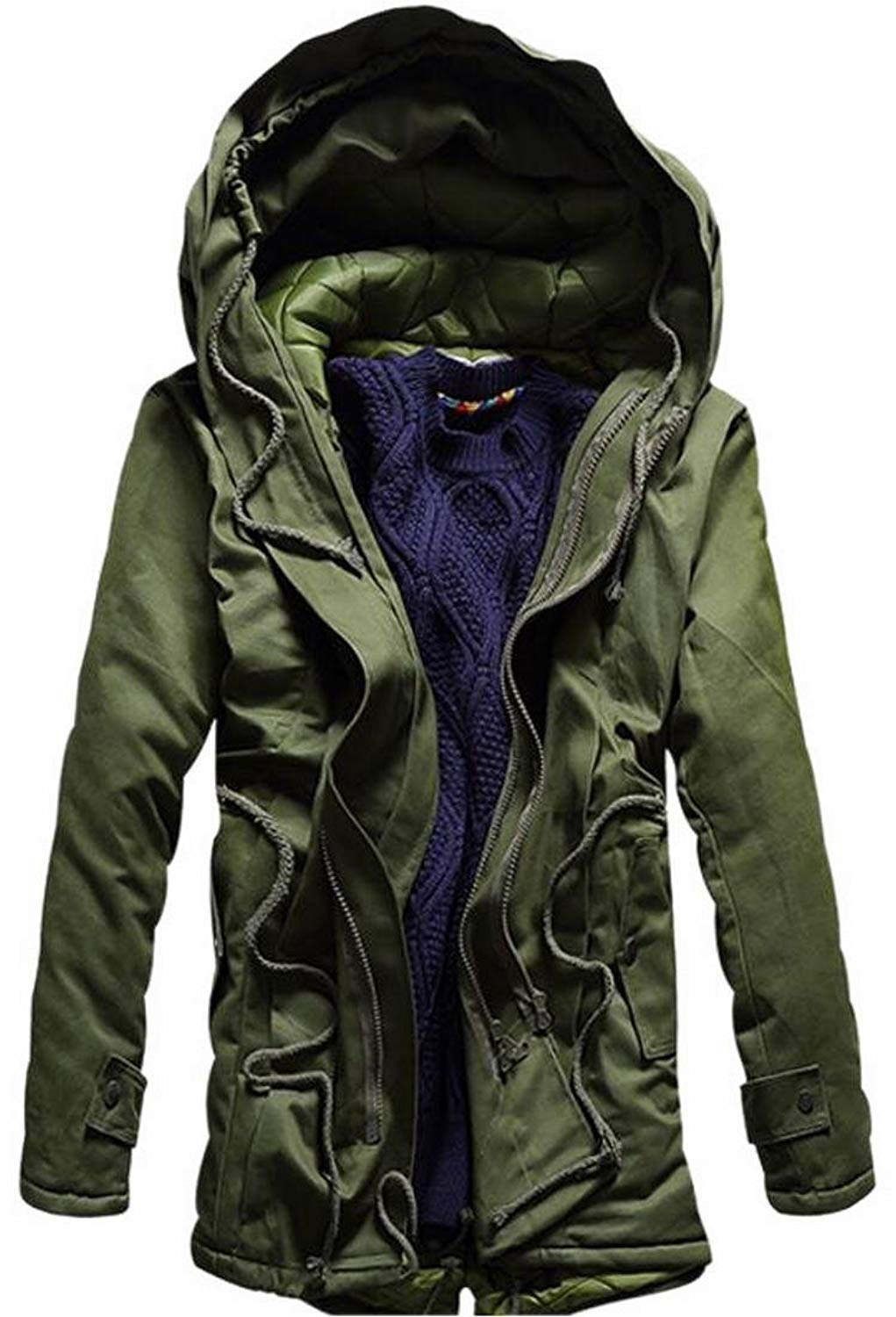 5afbbdb665d Get Quotations · WSPLYSPJY Mens Drawstring Hoodie Padded Parka Jackets Coats  Outwear
