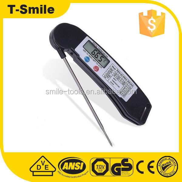 Portable Custom Digital BBQ Meat Thermometer With Collapsible Internal Probe