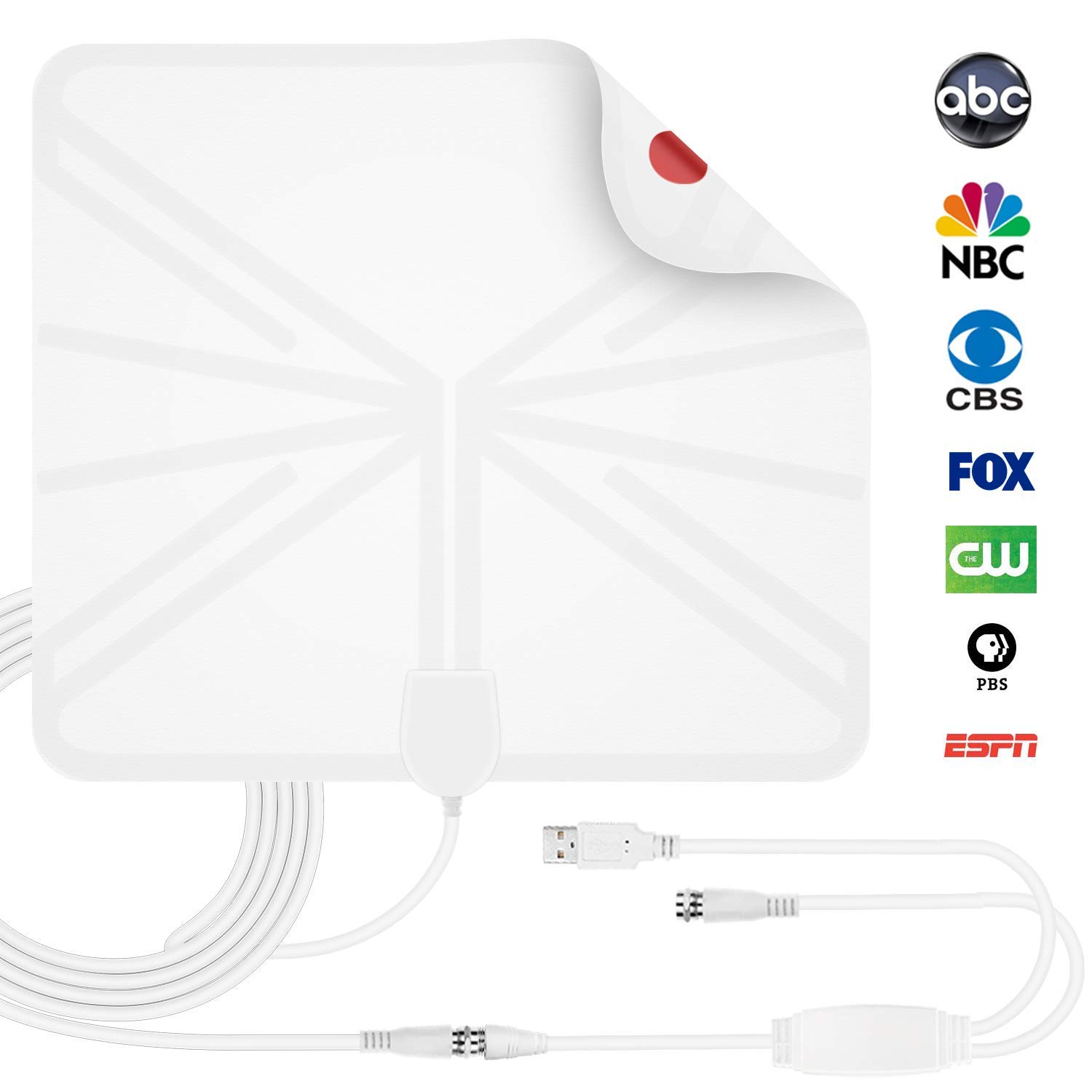 HEIRBLS TV Antenna, 50 Mile Range Amplified HDTV Antenna with Detachable Amplifier Signal Booster and 10FT Coaxial Cable - White