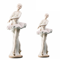 Ballerina in White Dancing Lady Ballet Dancer Porcelain Figurine Statuette Figure Collectibles Ceramic Figurine