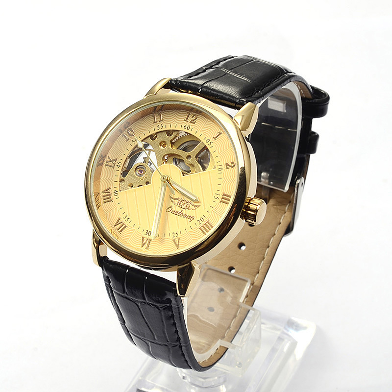 New 2015 Gold Skeleton Men wrist watches Black Leather Straps automatic business male time Fashion Mechanical