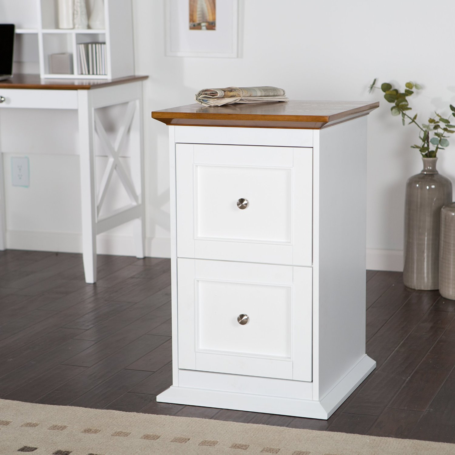 Get Quotations · Wood File Cabinet / Storage Cabinet 2 Drawer   White/Oak.  19 L