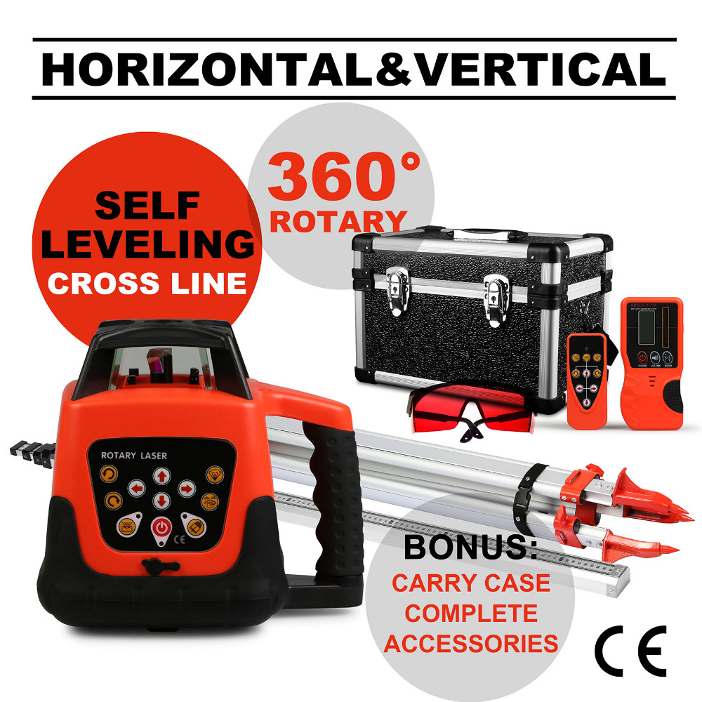 ROTARY RED LASER <strong>LEVEL</strong>+TRIPOD+STAFF 5 DEGREE RANGE ELECTRONIC SELF LEVELING