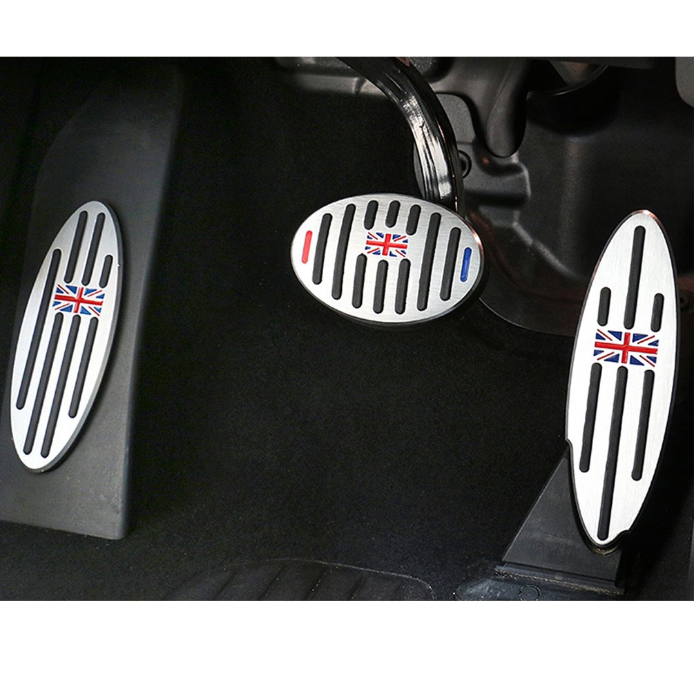 For BMW Mini Cooper Pedal Covers, Jaronx Anti-slip British Flag Pedals No Drill Gas Brake Pedal+Footrest Pedal Pads (Fits: BMW MINI Countryman,Clubman, Roadster,Hatch,Paceman, 2010-2018)