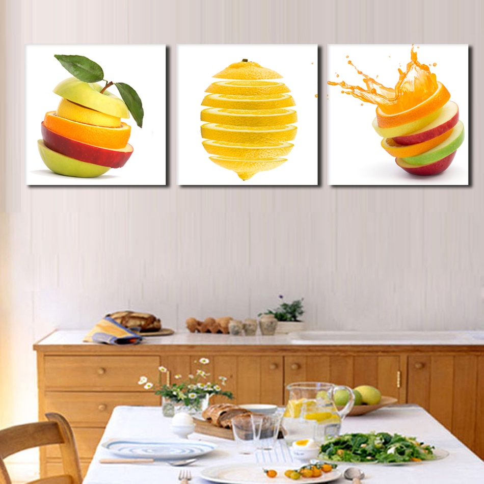 3 Panel Modern Printed Fruits Lemon Painting Picture On