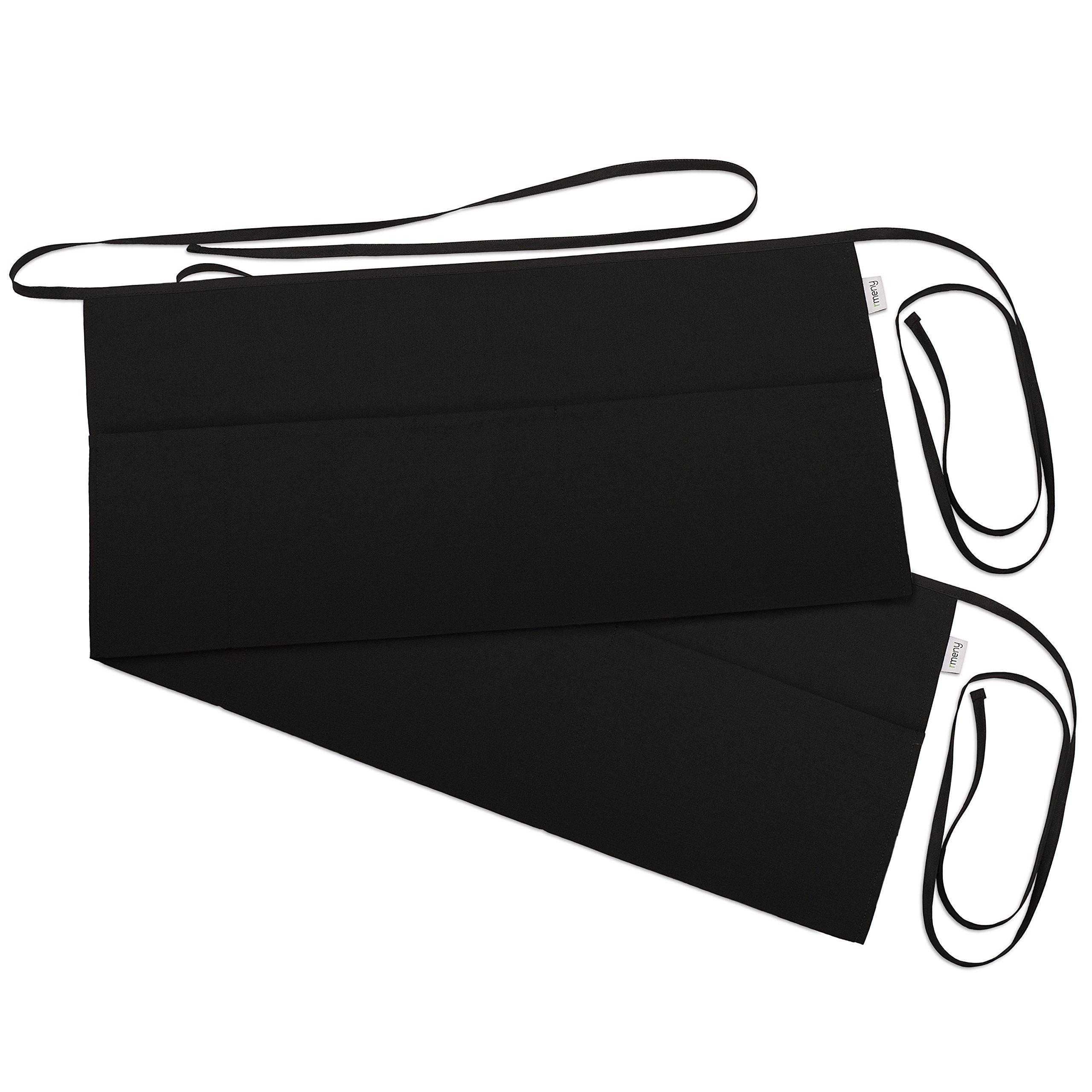 3 Pockets Waist Apron (Pack of 2) - Waitresses apron, Kitchen apron, Black apron - by Rmeny (Black)