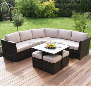 PE rattan outdoor sofa patio wicker sofa sets with 4 ottoman