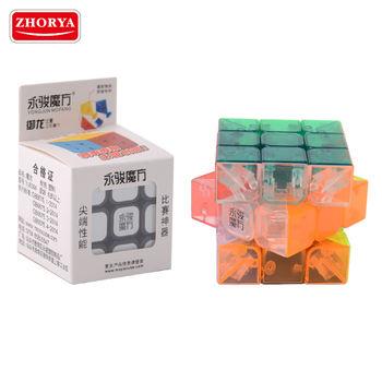 Zhorya customized wholesale high quality Tournament specific transparent plastic smooth high speed magic toy puzzle cube