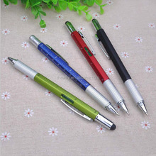 5 in 1 Plastic tool ball pen Screw driver/ruler/gradienter /stylus Screw Driver pen