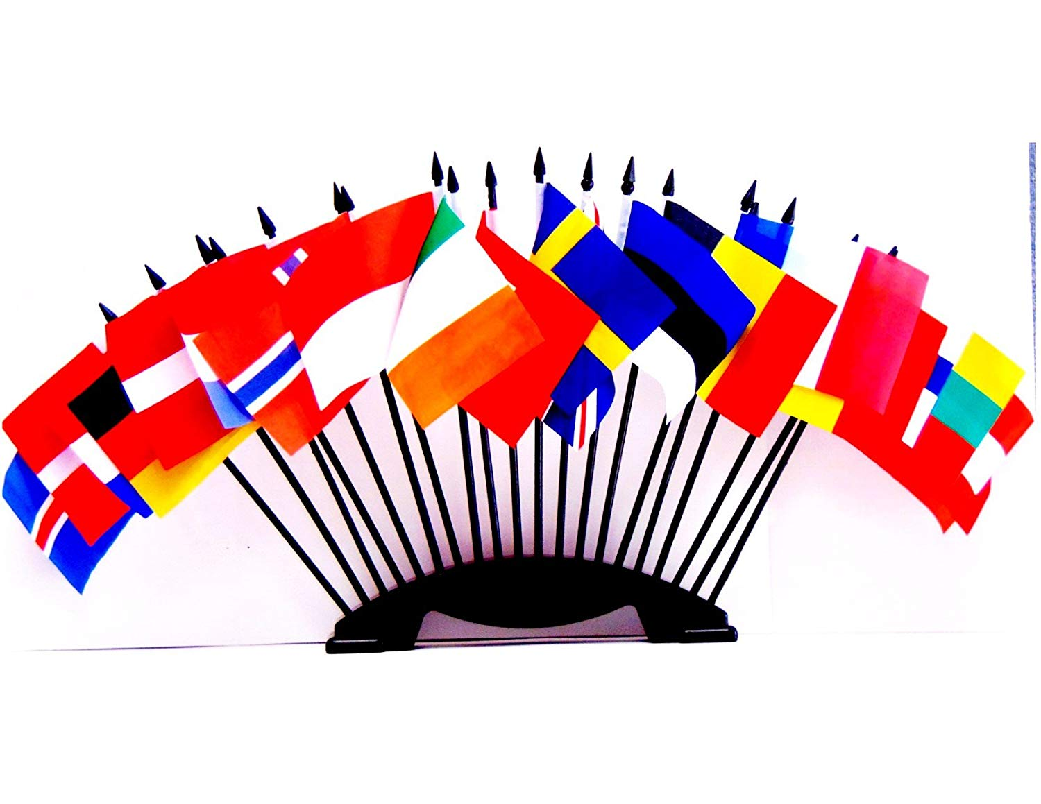 """NORTHWEST EUROPE WORLD FLAG SET with BASE--20 Polyester 4""""x6"""" Flags, One Flag for Each Country in Northwest Europe, 4x6 Miniature Desk & Table Flags, Small Mini Stick Flags"""