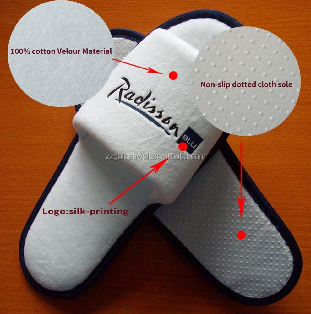 Disposable 100% Cotton Velour Velvet Hotel Slippers For Radisson ...