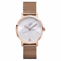 Free Shipping Fashion Hand Transparent Watch Men Stainless Steel Watch Marble Face MM017