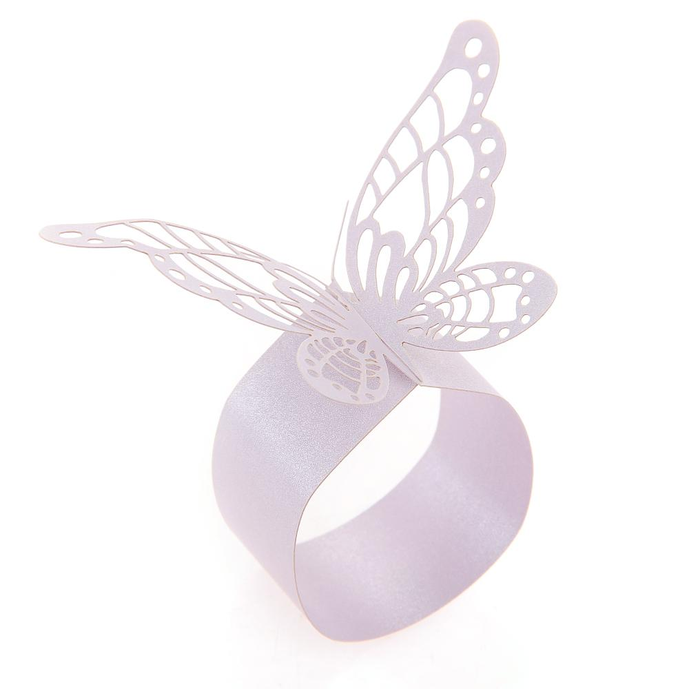 Wholesale 50x Paper Napkin Ring Holder Laser Cut Butterfly